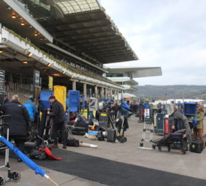 bookmakers setting up in front of cheltenham stands