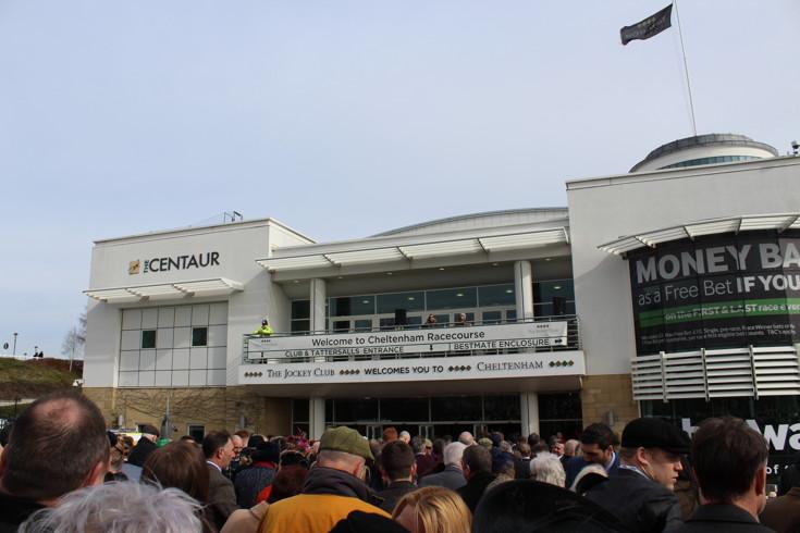 welcome to cheltenham sign outside Cheltenham racecourse