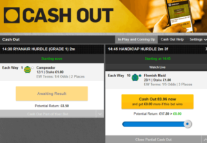 betfair cash out screenshot