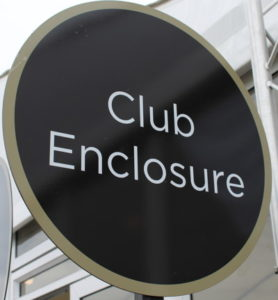 club enclosure sign at cheltenham racecourse