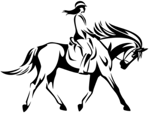 woman on a horse outlin