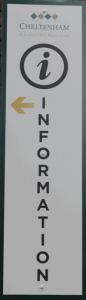 cheltenham racecourse information sign