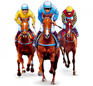 trio of jockeys on horses