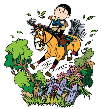 cross country horse and jockey cartoon
