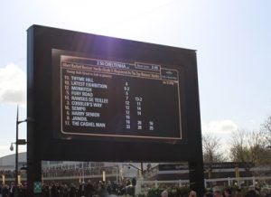 albert barlet novices hurdle race board at cheltenham gold cup day