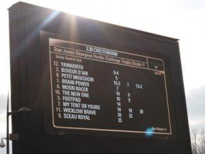 champion hurdle race board at cheltenham