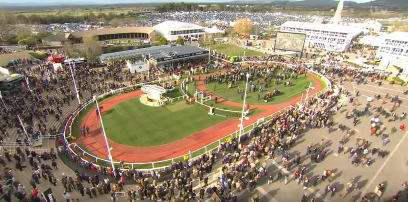cheltenham racecourse parade ring from above during the festival