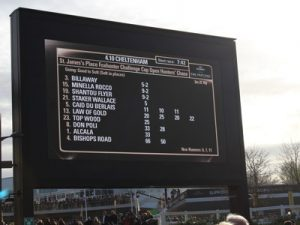 foxhunter challenge cup race board at cheltenham gold cup day