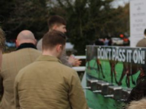 hand sanitisers with dont pass it on warning at cheltenham