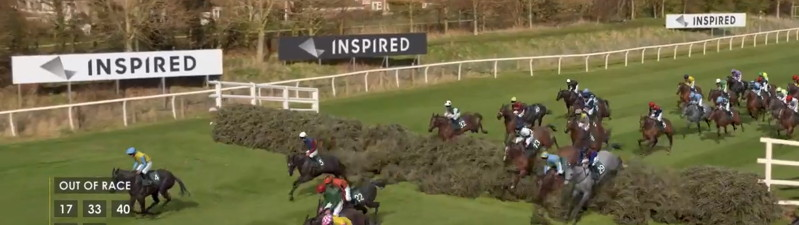 virtual grand national horses jumping a fence