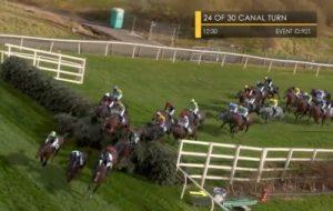virtual grand national horses take canal turn
