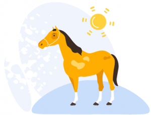 graphic horse standing in the sun