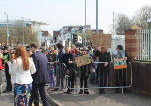 animal rights protesters at aintree before grand national